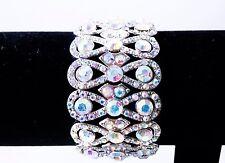 AB Aurora Borealis Silver Bracelet Stretch Wedding Bride Pageant Prom Showgirl