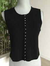Womens VITTADINI Wool Knit Decorative Rhinestone Button Front Cropped Vest  Sz P