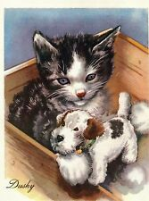 Tabby Kitten With Wire Fox Terrier Toy Cute 1930s Childrens Vintage Art Print