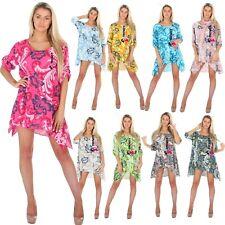 Ladies Cotton Aline floral print summer tunic top Cotton Dress Maxi size 8 - 16