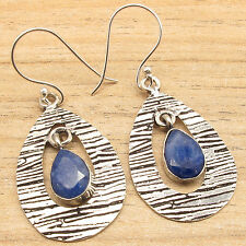 925 Silver Overlay Simulated Sapphire Semi Precious Stones Earrings Christmas