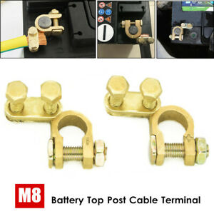 2PCS M8 Pure Brass Replacement Top-Post Battery Cable Terminal Wire Clamp Clips