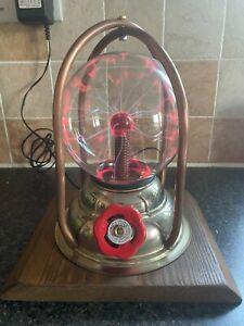 Steampunk Handmade Upcycled Plasma Ball Table Lamp Light Copper Brass Wood