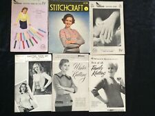 6 VINTAGE KNITTING PATTERN BOOKS GLOVES JUMPERS CARDIGANS