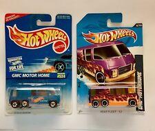 🏁 Hot Wheels (2) GMC Motorhomes - Blue Racing & Purple w/Flames 🏁