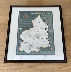 Northumberland Framed Calligraphic Map by Tom Fleming