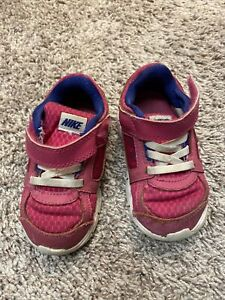 Toddler Girl Size 7 Pink Tennis Shoes Sneakers, No Tie