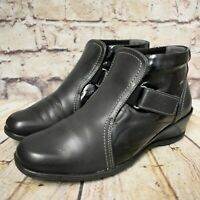 Womens Black & Navy Leather Touch Fastening Low Heel Ankle Boots UK 6.5 EUR 40