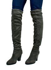 New Ladies Women thigh high over knee block heel stretch winter boots size UK2-8