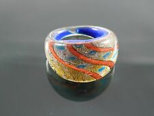 Handmade Murano Glass Silver Foiled Lampwork Handmade Blue Ring Size US 7.75""