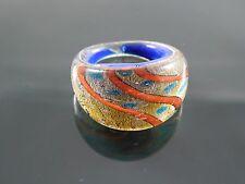 "Handmade Murano Glass Silver Foiled Lampwork Handmade Blue Ring Size US 9"""