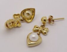 14K YELLOW GOLD HEARTS AND BOWS WITH FRESH WATER WHITE PEARLS EARRINGS 5MM