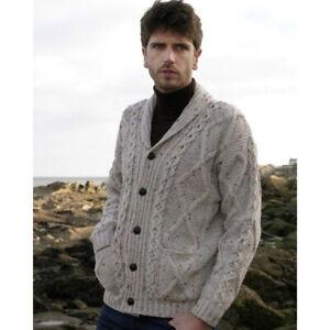 100% Merino Wool Aran Shawl Collar Grandfather Cardigan, Oatmeal Colour