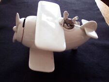 Vintage 1978 Fitz & Floyd Bi-Plane Airplane Flying Ace Piggy Bank Collectible
