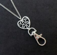 Heart Lanyard Silver, ID Badge Holder Necklace Heart Boho Silver Lanyard Work