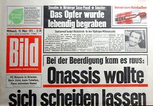 Kult-Zeitschrift BILD ZEITUNG 19.3.1975, Onassis wollte sich scheiden lassen