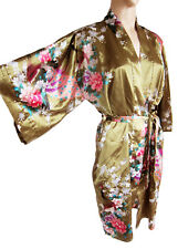 "100% SILK Sz 14-16  green Floral 38"" Long Kimono/ Kaftan Cover Wide Sleeve  new"