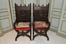 Antique French Gothic Arm Chairs SPECIAL Oak Model with Decorative Cushion