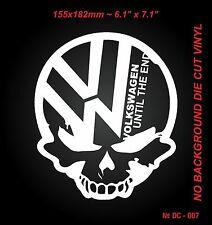 2 pcs Car Die Cut White Vinyl sticker Volkswagen until the end Skull