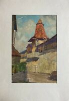 Hans Maulwurf 1878 - 1936 Nürnberg Architektur Dorf Stadt? Studie 45 x 31 cm