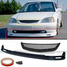 Fits 01-03 Honda Civic 2DR 4DR Mugen Style Front Bumper Lip + Hood Mesh Grille
