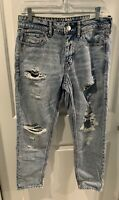 NWT American Eagle Womens Tomgirl Jeans SZ 6 Short DESTROYED holes New 59.95