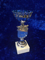 Blue & Silver Bowl Cup Trophy Award Sport Dance Competition FREE engraving