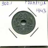 20 CENTIMES 1943 FRANCE French Coin #AN163UW