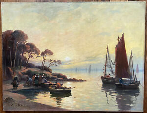 Marine Bretagne Pêcheurs Huile proche Legout Gerard signée Marie Lefevre 1840-?