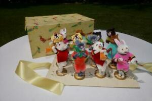 BOXED SET 12 VINTAGE CHENILLE  PIPE CLEANER ANIMAL XMAS ORNAMENTS FIGURES NOS