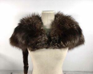 "Vintage Brown Fox Fur Women's Pelt Stole Shawl Wrap Collar Scarf One Size 30.5"""