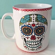 Large Day Of The Dead Sugar Skull Latte Coffee Soup Mug Cup Halloween
