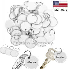 100-Pack White Paper Key ID Label Name Tags w/ Split Ring Rim Tag Coded Keychain