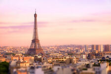 Sunset over Eiffel Tower in Paris Photo Art Print Poster 12x18 inch