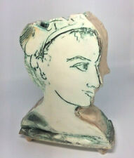 LAURIE SHAMAN HEAD VASE SIGNED SCULPTURE CHICAGO STUDIO AMERICAN POTTERY ~ OOAK