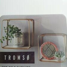 Set OF 2 Retro Square Metal & Wood Shelf Bath room ,Living Room Wall Shelf Unit