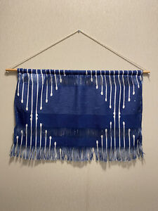 Society 6 Horizontal Wall Hanging Wall Tapestry Blue With Fringe Small