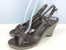 Tahari Charcoal Gray Leather Wedge Espadrille Rope Slingback 8.5 Sandals EUC