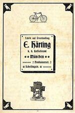 E.Härtling München FAHRRÄDER & NÄHMASCHINEN Historische Annonce 1900