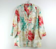 JM Collection Women Blouse Top Size 22W Tunic Button Down Linen 3/4 Sleeve