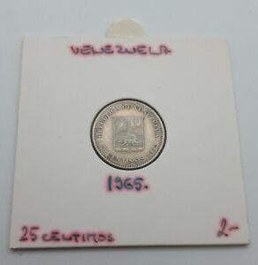 25 Céntimos1965. Venezuela coin, nickel coin, BOLÍVAR LIBERTADOR !