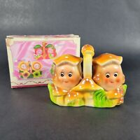 Vintage Mushroom Salt and Pepper Shaker Set with Tray Caddy Anthropomorphic