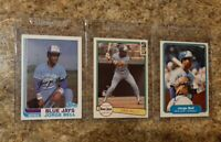 (3) George Bell 1982 Topps Fleer Donruss Rookie Card Lot Blue Jays RC Jorge