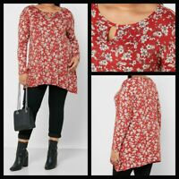 NEW Ex Evans Floral Printed Asymmetric Jersey Top Blouse RED Size 14 - 28