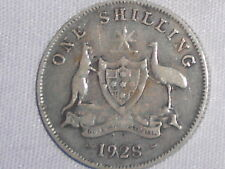 1928 Australian Silver ONE Shilling 1/- (Shilling) KING GEORGE V  (very Nice)