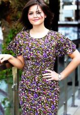 Topshop Premium Purple Floral Vtg 40s WW2 Sci-fi Cosplay Tea Dress 10 6 38 S