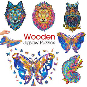 Wooden Jigsaw Puzzles Unique Animal Shape Adult Kid Child Toy Gift Home Decor