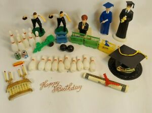 Lot of Vintage Cake Toppers Decoration Crafts Graduation Bowling Train Communion