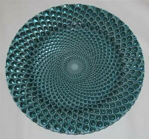 """Varied Colors Peacock Scalloped Edge 13"""" Glass Platter Charger Unique U-Pick"""