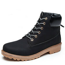 Mens Waterproof Anti-slip Sport Casual Comfort Lace Up Work Martin Leather Boots